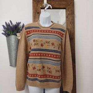 Alfred Dunner Sweater Embroidered Floral